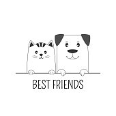 Face cat and dog best friends white background. Contour silhouette. Funny baby puppy and kitty.