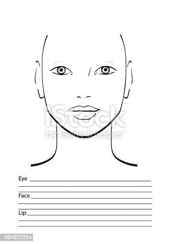 Face Chart Makeup Artist Blank Template Stock Vector Art & More ...