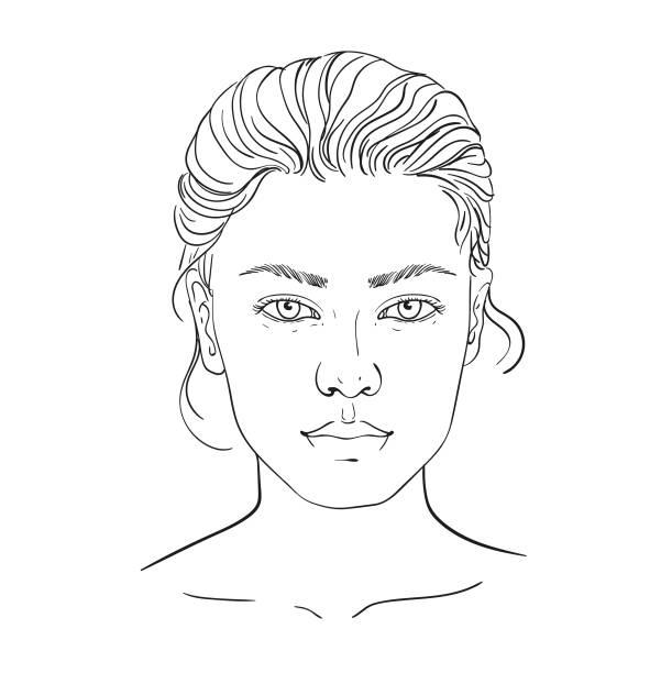 ilustrações de stock, clip art, desenhos animados e ícones de face chart makeup artist blank. template. vector illustration. illustration on a white background outline of the human female face for makeup. - woman make up