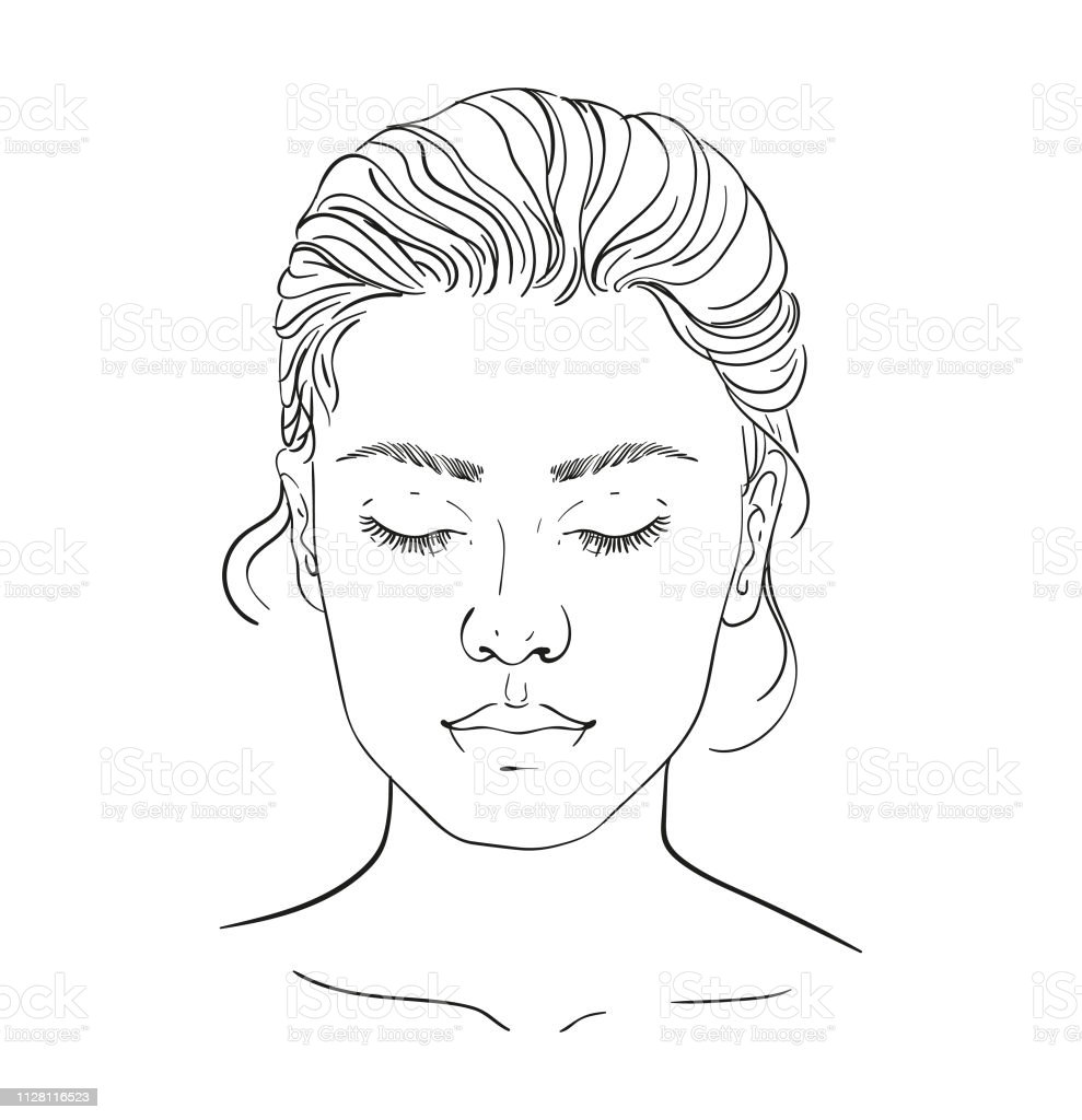 Face chart Makeup Artist Blank. Template. Vector illustration. illustration on a white background outline of the human female face for makeup.