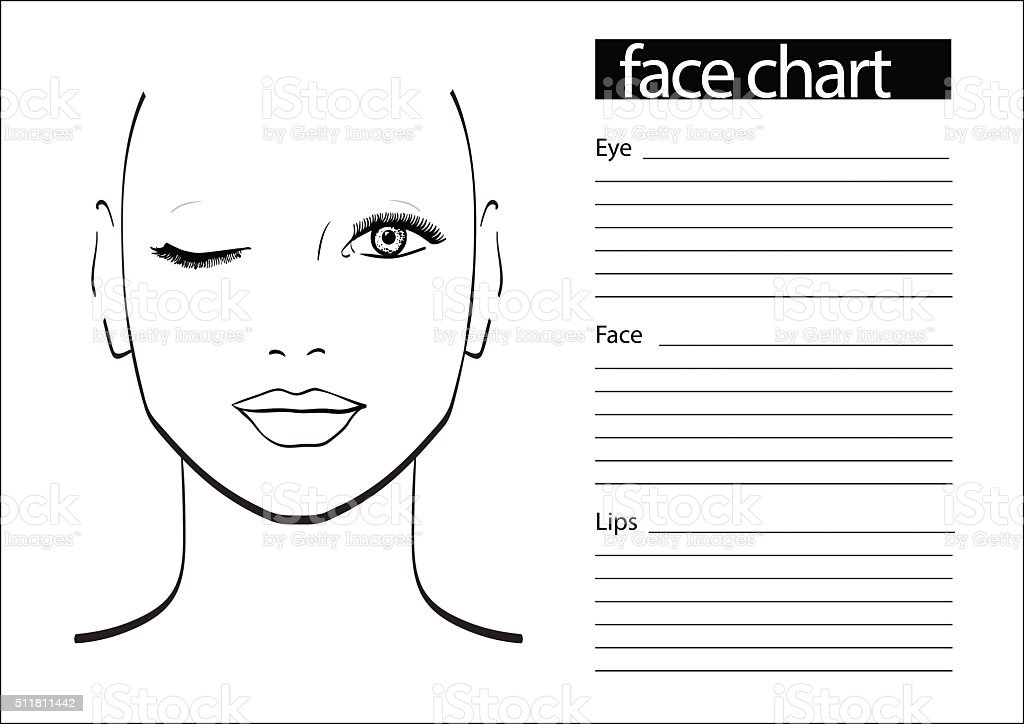 Face Chart Makeup Artist Blank Template Vector ...