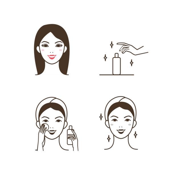 ilustrações, clipart, desenhos animados e ícones de guardanapo de limpeza de rosto - limpando rosto