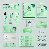 Face Cosmetic Identity Editable Vector Set. Beauty Product Container Kit. Cream Jar Tube Bottle Cup Mug Bag with Company Logotype Design. Natural Organic Cosmetics Packaging Branding