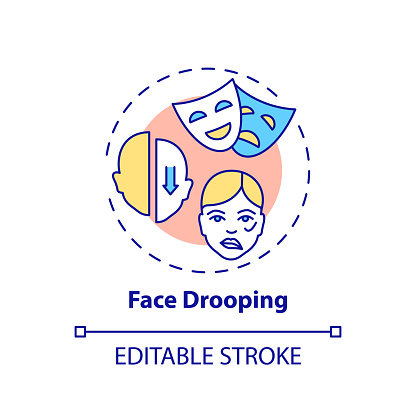 Face drooping concept icon