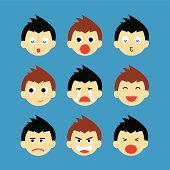 face emotions vector cartoon