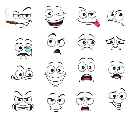 Face expression isolated vector facial emoji icons
