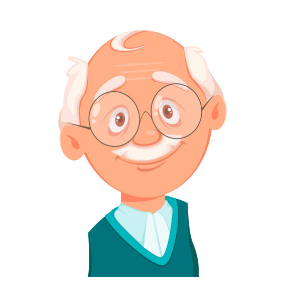Face expression of grandfather, smiling Face expression of grandfather, smiling. Emotion of old man. Vector illustration on white background one senior man only illustrations stock illustrations