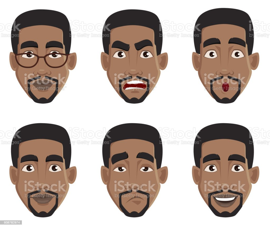 Face expressions of African American man vector art illustration