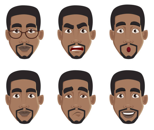 illustrazioni stock, clip art, cartoni animati e icone di tendenza di face expressions of african american man - uomo stanco