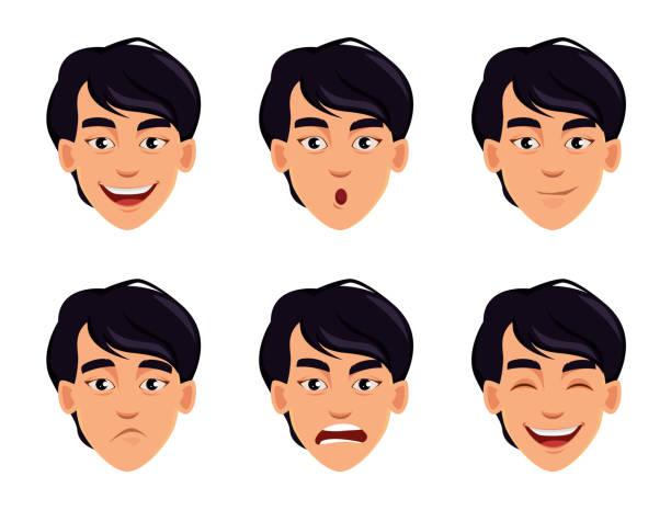 bildbanksillustrationer, clip art samt tecknat material och ikoner med ansikte uttryck av asiatiska man - japanskt ursprung