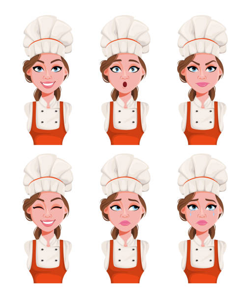 illustrazioni stock, clip art, cartoni animati e icone di tendenza di face expressions of beautiful young chef woman - chef triste