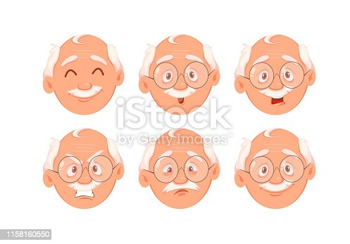 Face expressions of grandfather. Set of emotions of old man. Vector illustration on white background