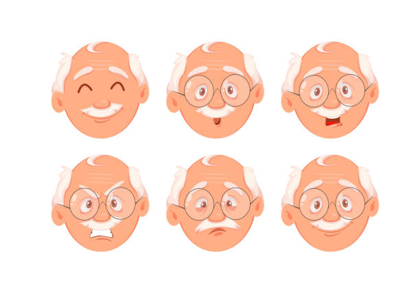 face expressions of grandfather - old man faces stock illustrations, clip art, cartoons, & icons
