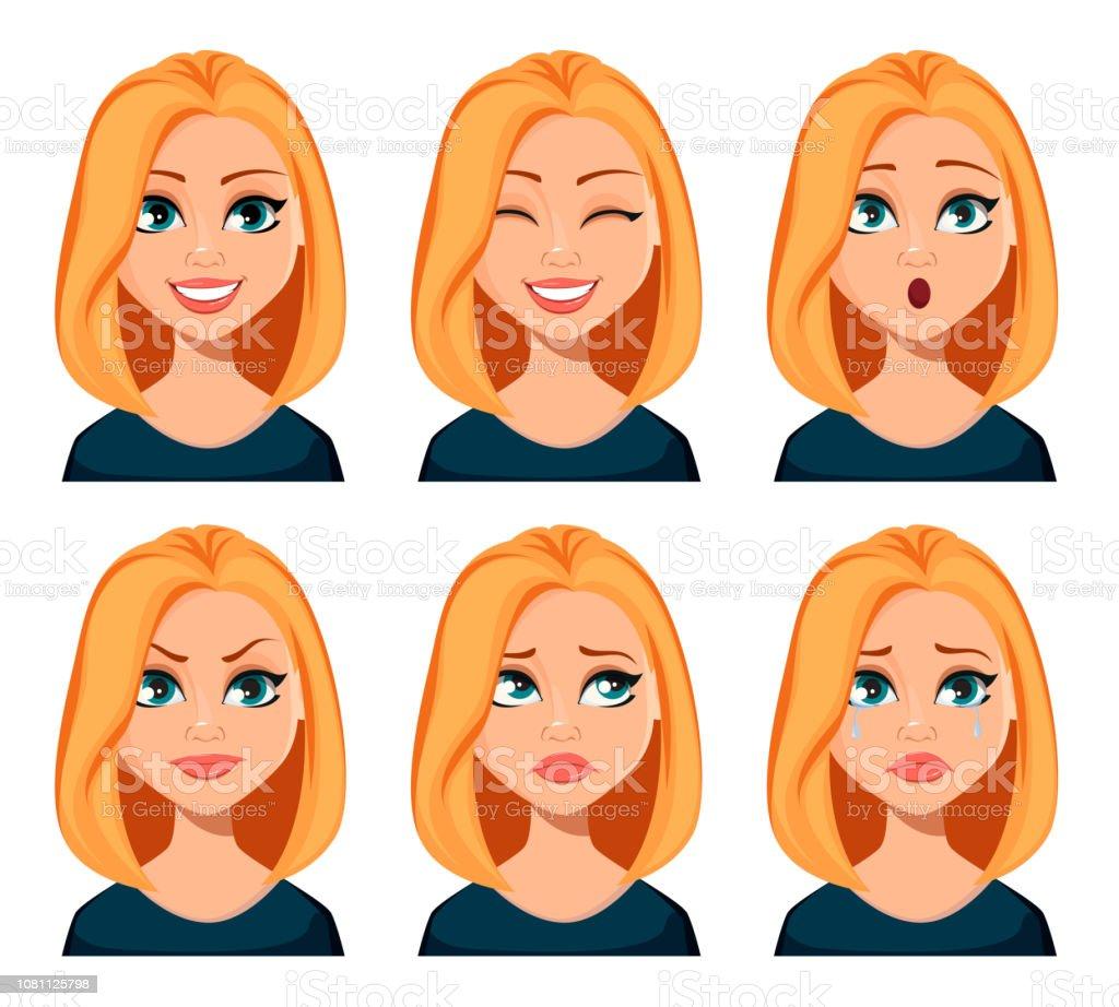 Gesichtsausdrücke Frau Mit Blonden Haaren Stock Vektor Art