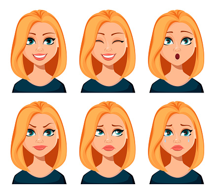 Face expressions of woman with blond hair