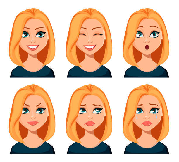 Face expressions of woman with blond hair Face expressions of woman with blond hair. Different female emotions set. Beautiful cartoon character modern business woman. Vector illustration isolated on white background. blond hair stock illustrations