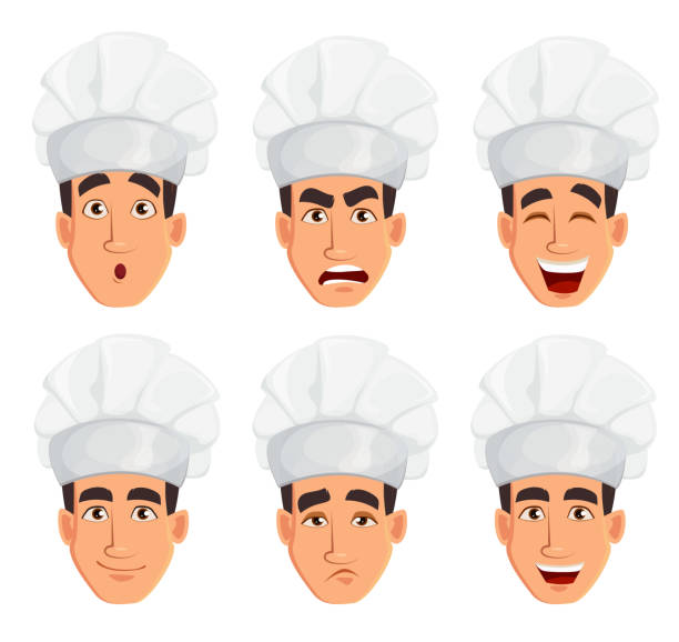 illustrazioni stock, clip art, cartoni animati e icone di tendenza di face expressions of young professional chef man - chef triste