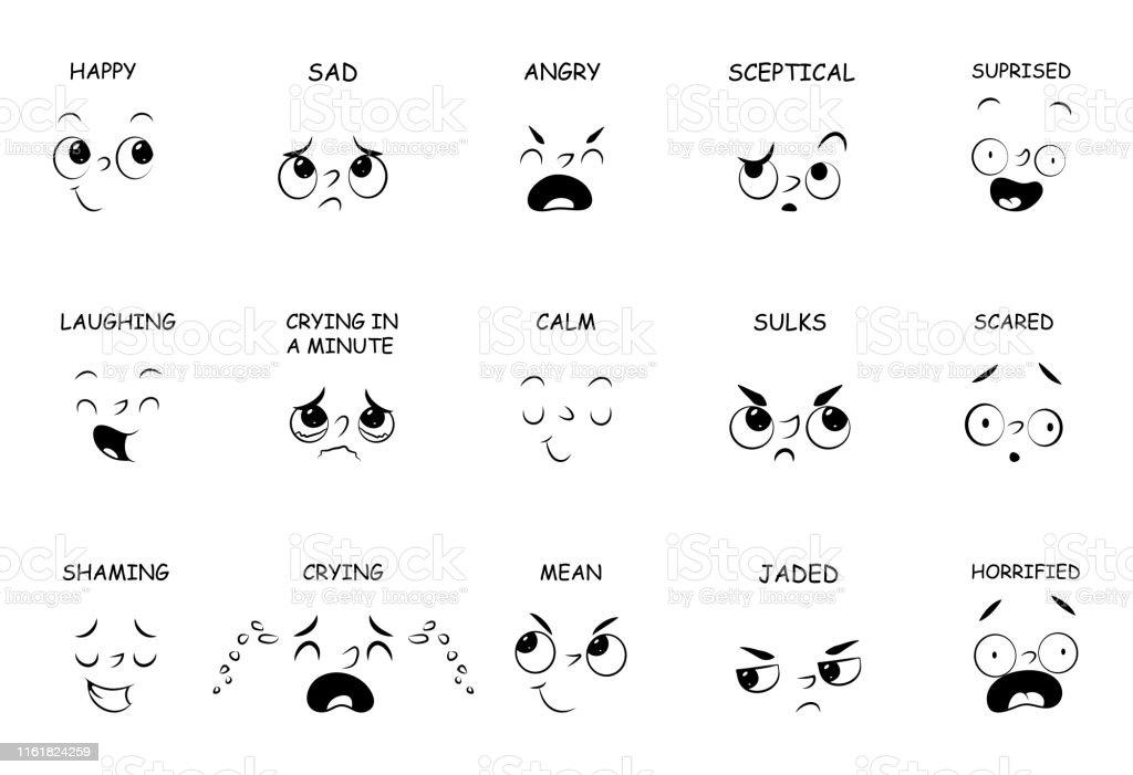 Ilustración De Expresiones Faciales Con Nombres Para Cómic
