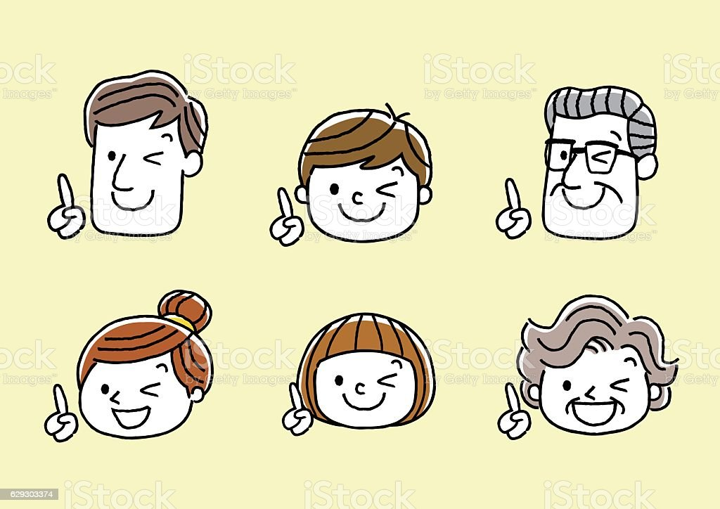 Face, facial expression: point, index finger vector art illustration