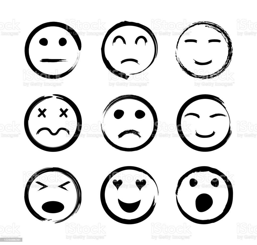 顔アイコン幸せな悲しい面白い怒っている愛泣いて笑う感情を持つ顔文字笑顔をスケッチします落書き絵文字で設定しますラインスタイルの黒いスマイリー手描きの漫 いたずら書きのベクターアート素材や画像を多数ご用意 Istock