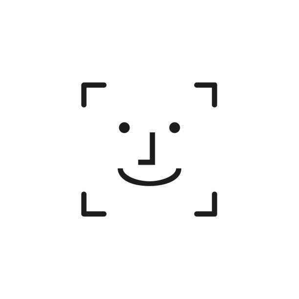ilustrações de stock, clip art, desenhos animados e ícones de face id line icon - visor digital