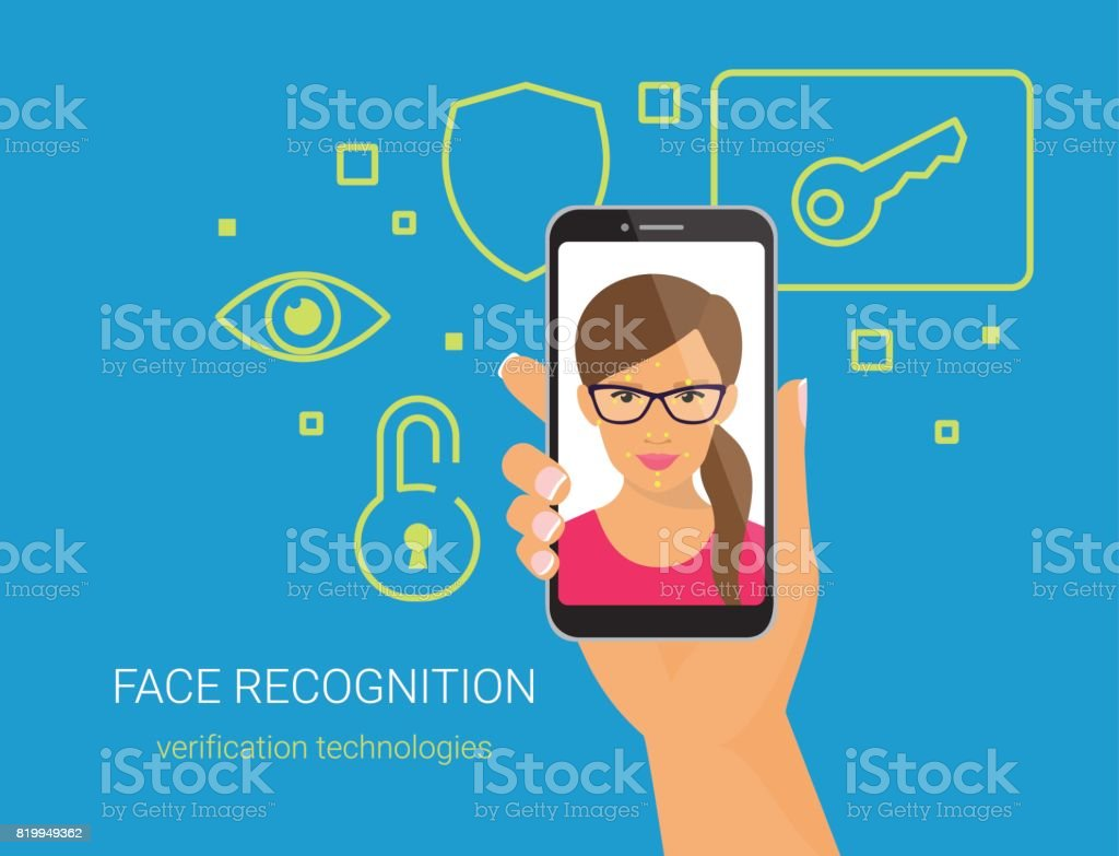 Face identification of woman wearing glasses vector art illustration