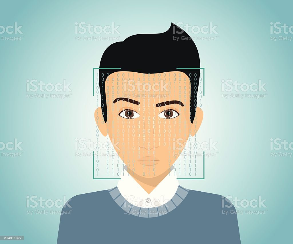 Face identification vector art illustration