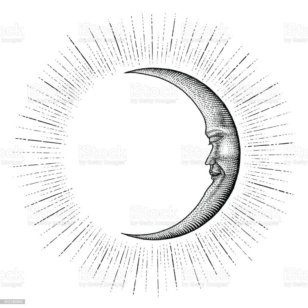 Cara de luna con sparkle mano estilo vintage grabado dinero línea detalle del tatuaje - ilustración de arte vectorial
