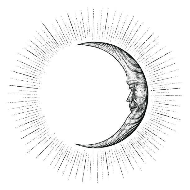 face in moon with sparkle hand drawing vintage engraving money line detail style for tattoo - граттаж stock illustrations
