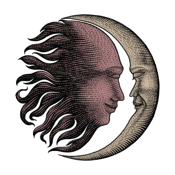 月の太陽の下で顔と手お金ライン詳細スタイルのタトゥーを彫り図面のヴィンテージ - 月のタトゥー点のイラスト素材/クリップアート素材/マンガ素材/アイコン素材