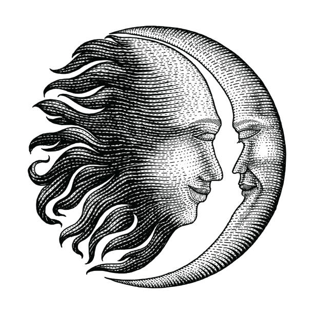 face in sun and moon hand drawing vintage engraving money line detail style for tattoo - граттаж stock illustrations