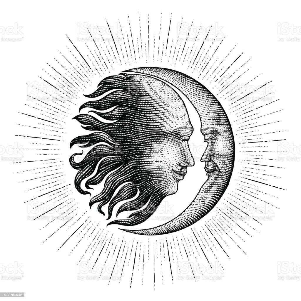 Ilustración De Cara En El Sol Y Luna Con Brillan Estilo Vintage