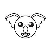 face koala animal outline