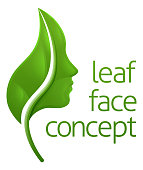 Conceptual illustration of a leaf forming a womans face