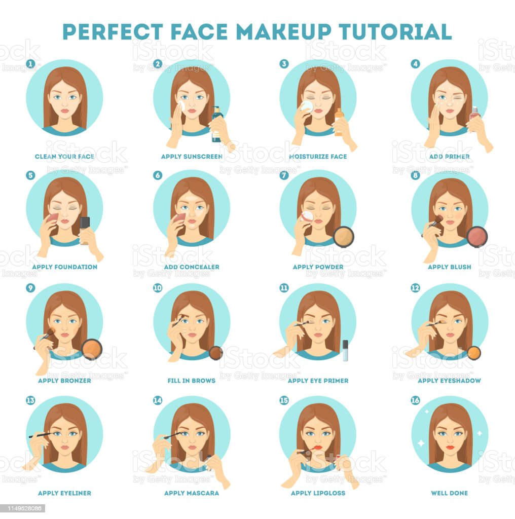 Face Makeup Tutorial For Woman Stock Illustration Download Image Now Istock