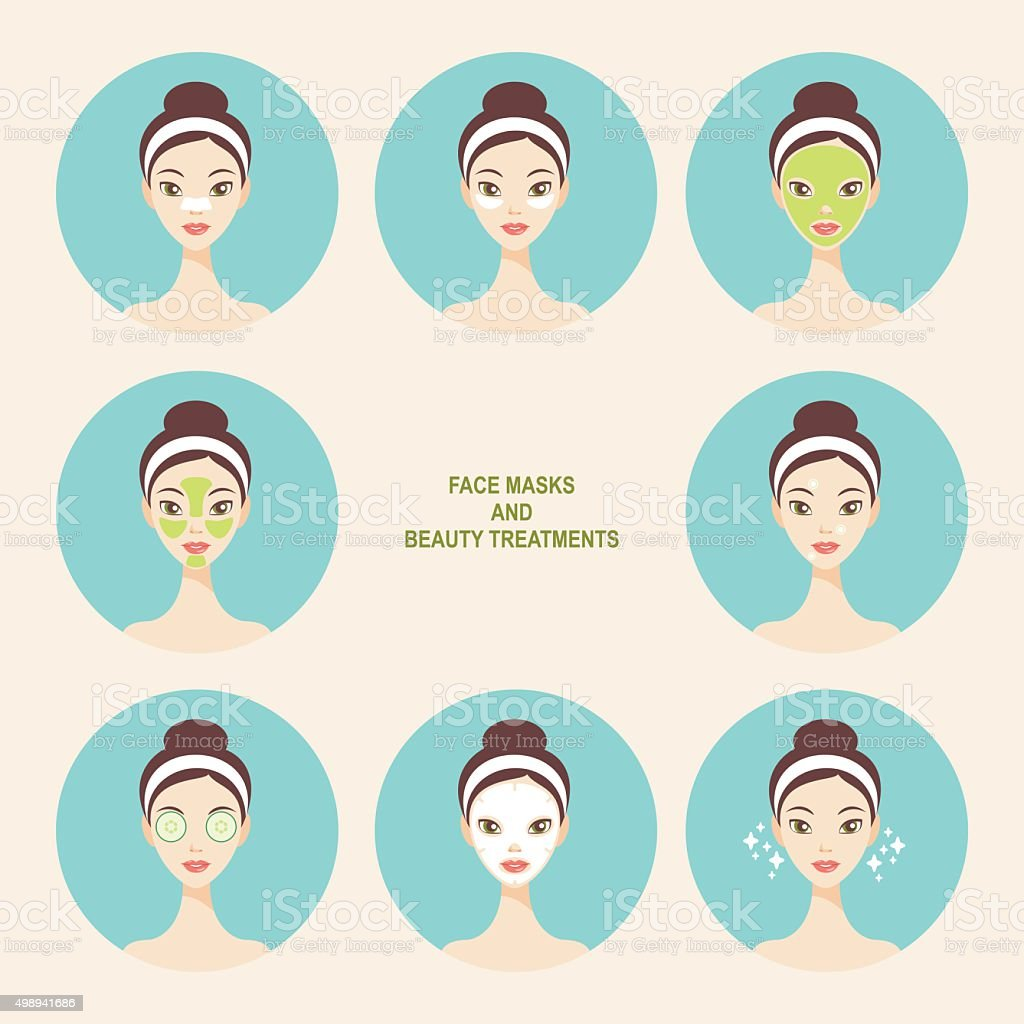 Face mask and beauty treatment icons vector art illustration