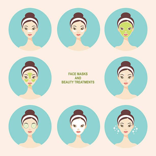 ilustrações, clipart, desenhos animados e ícones de máscara facial e ícones de tratamento de beleza - tratamentos de beleza