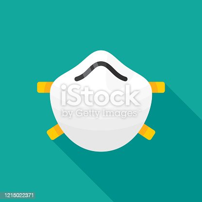 Vector illustration of a face mask against a teal background in flat style.