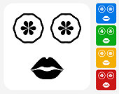 Face Mask Icon. This 100% royalty free vector illustration features the main icon pictured in black inside a white square. The alternative color options in blue, green, yellow and red are on the right of the icon and are arranged in a vertical column.