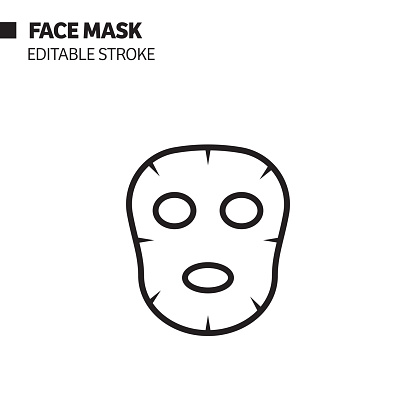 Face Mask Line Icon, Outline Vector Symbol Illustration.