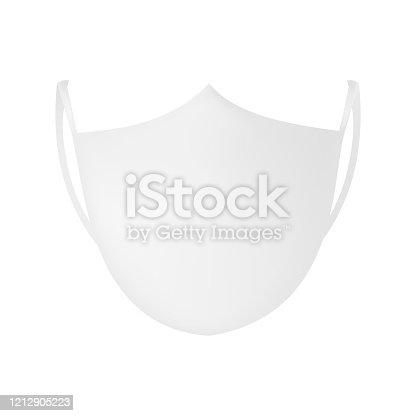 Face mask mockup isolated on white background