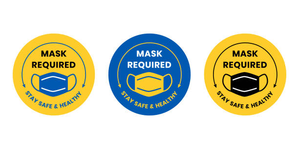 Face Mask Required vector art illustration