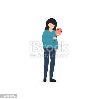 Woman  covering her face with mask expressing positive emotion. Girl hide her true emotional pain and feeling from society. Flat vector cartoon illustration.