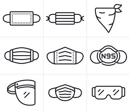 Coronavirus face coverings, face masks and PPE personal protective equipment line icons and symbols.