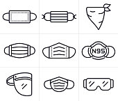 istock Face Masks, Coverings and PPE Personal Protective Equipment Symbols and Icons 1257055305