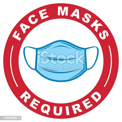 A simple vector logo of a Covid-19 protective face mask with the text