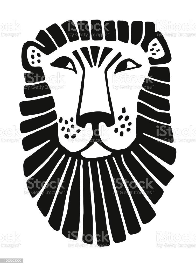 Face of a Lion vector art illustration