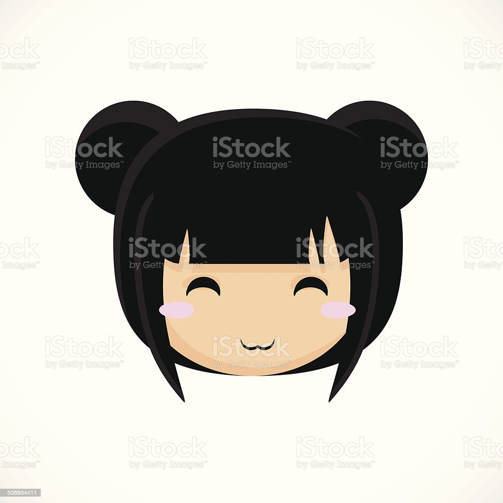 Face of a little cute girl. Illustration. Beautiful background. vector art illustration