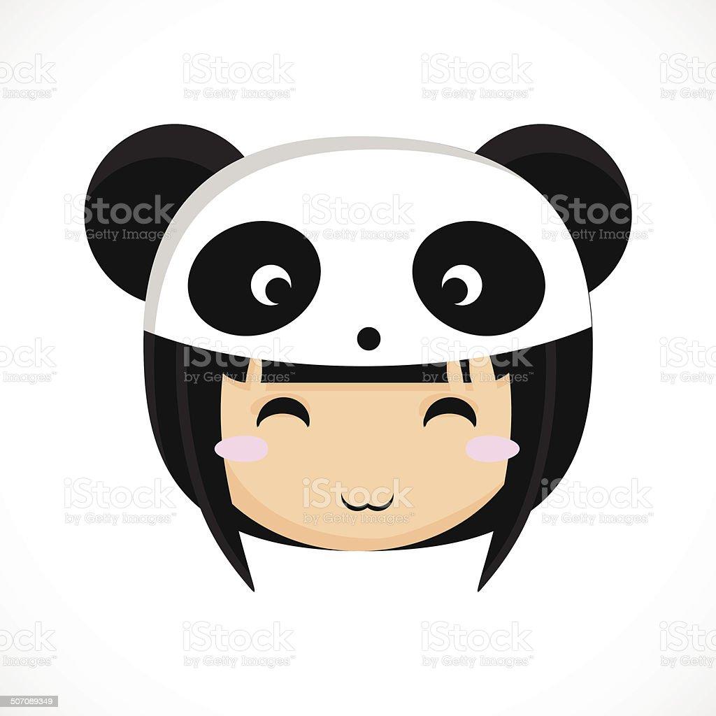 顔の小さなかわいい女の子のコスチュームパンダます イラスト の