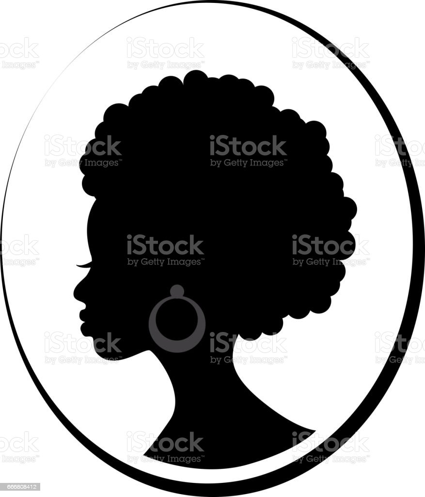 Face of African black woman in profile - ilustración de arte vectorial